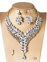 cheap -Women's Drop / Flower Jewelry Set 1 Necklace / Earrings - Classic / Vintage / Elegant Geometric Red / Green / Blue Jewelry Set / Drop