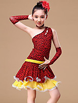 cheap -Latin Dance Outfits Girls' Training Performance Polyester Pattern / Print Sashes / Ribbons Split Joint Sleeveless Natural Dress Gloves