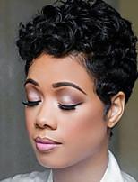 Недорогие -Человеческие волосы без парики Натуральные волосы Кудрявый Короткий Боб Природные волосы Природа Черный Машинное плетение Парик Жен.