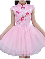 cheap -Girl's Daily Holiday Solid Colored Floral Dress, Cotton Polyester Summer Short Sleeves Cute Chinoiserie Blushing Pink