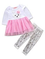 cheap -Girls' Daily School Print Clothing Set, Cotton Polyester Spring Fall Long Sleeves Cute Active White