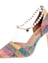 preiswerte -Damen Schuhe PU Frühling / Sommer Komfort High Heels Stöckelabsatz Spitze Zehe Orange / Grau