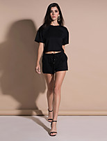 abordables -Femme Basique Set - Couleur Pleine Pantalon