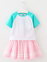 cheap -Girls' Sports Holiday Color Block Clothing Set, Polyester Summer Short Sleeves Cute Blue Green Blushing Pink