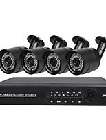 abordables -Système de sécurité 4 ch avec 4ch 1080n ahd dvr 4pcs 1.3mp caméras résistant aux intempéries avec vision nocturne