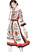 cheap -SHE IN SUN Women's Basic Street chic Flare Sleeve Swing Dress - Geometric Print