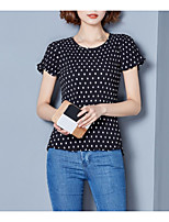 cheap -Women's Basic Blouse - Solid Colored Polka Dot