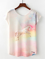 cheap -Women's Active T-shirt - Rainbow / Animal