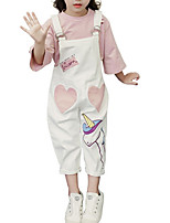cheap -Girls' Daily Print Clothing Set, Polyester Spring Long Sleeves Cute White
