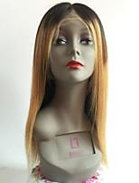 Недорогие -Необработанные Парик Бразильские волосы Прямой Средняя часть Стрижка каскад 130% плотность С детскими волосами Темные корни Волосы с