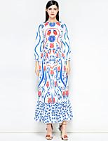 abordables -Femme Rétro Bohème Balançoire Robe Fleur Abstrait Maxi