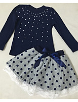 cheap -Girls' Daily Solid Colored Clothing Set, Polyester Spring Long Sleeves Cute Active Navy Blue