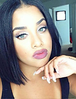 cheap -Unprocessed Wig Brazilian Hair Straight Short Bob Bob Haircut 130% Density With Baby Hair For Black Women Black 8-14 Women's Human Hair