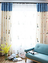 cheap -Curtains Drapes Living Room Floral Geometric Cotton / Polyester Printed