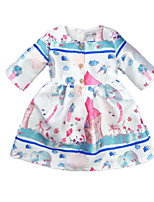 cheap -Girl's Daily Holiday Print Dress, Cotton Polyester Spring Fall 3/4 Length Sleeves Cute Active White