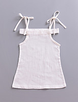 cheap -Girl's Daily Solid Colored Dress, Polyester Summer Sleeveless Cute White