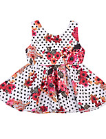 cheap -Girl's Party School Polka Dot Floral Dress, Modal Summer Fall Sleeveless Active Boho Fuchsia