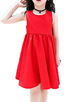 cheap -Girl's Daily Holiday Solid Colored Dress, Cotton Polyester Summer Sleeveless Cute Active Red Yellow
