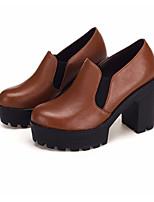 Недорогие -Жен. Обувь Кожа Осень / Зима Армейские ботинки Обувь на каблуках На толстом каблуке Ботинки Черный / Коричневый