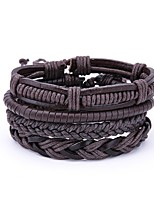cheap -Men's Leather 4pcs Wrap Bracelet - Vintage Casual Irregular Brown Bracelet For Daily Club