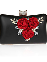 cheap -Women's Bags Polyester / PU Evening Bag Crystals / Flower Silver / Red / Fuchsia