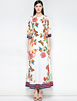 cheap -Women's Vintage / Boho Slim A Line Dress - Floral Maxi