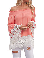 cheap -Women's Basic Blouse-Solid Colored,Cut Out Jacquard