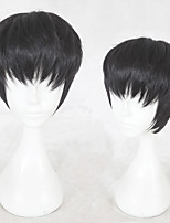 cheap -Synthetic Wig Straight Layered Haircut Natural Hairline Black Men's Capless Cosplay Wig Short Synthetic Hair Christmas