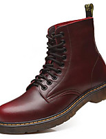 cheap -Men's Shoes Cowhide Spring Winter Combat Boots Boots Booties/Ankle Boots for Casual Black Brown Burgundy