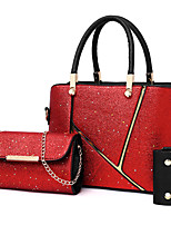 cheap -Women's Bags PU Leather Bag Set 3 Pcs Purse Set Zipper for Office & Career Silver / Red / Brown