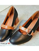 Недорогие -Жен. Обувь Кожа Весна / Осень Удобная обувь / Туфли Мери-Джейн Обувь на каблуках На толстом каблуке Черный / Коричневый / Миндальный