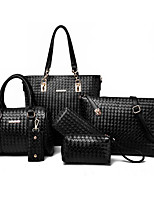 cheap -Women's Bags PU Bag Set 6 Pieces Purse Set Embossed for Casual Blue / Black / Gray