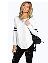 cheap -Women's Cute Street chic T-shirt - Solid Colored Striped