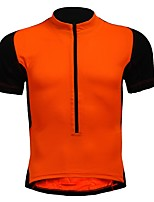cheap -men's women's short sleeves cycling jersey - black/orange bike jersey, breathable, spring summer