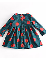 cheap -Girl's Daily Polka Dot Dress, Polyester Spring Long Sleeves Cute Green