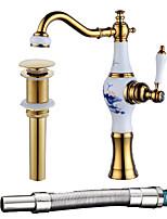 Недорогие -Смеситель - Широко распространенный Золотой По центру Одной ручкой одно отверстие
