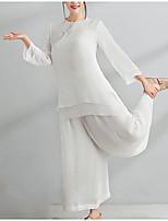 Недорогие -Жен. Шинуазери (китайский стиль) Набор Брюки Однотонный