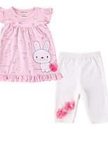 cheap -Girls' Daily Holiday Print Clothing Set, Cotton Spring Summer Sleeveless Cute Blushing Pink