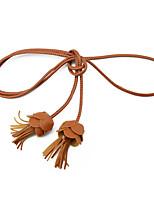 cheap -Women's Cute Leather Alloy Skinny Belt Tassel