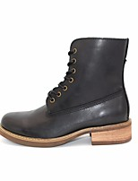 preiswerte -Damen Schuhe Leder Herbst Winter Springerstiefel Stiefel Niedriger Heel Runde Zehe Booties / Stiefeletten für Normal Schwarz Kaffee