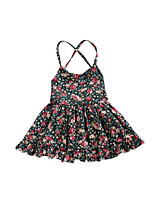 cheap -Girl's Daily Floral Dress, Polyester Summer Sleeveless Cute Green Red Royal Blue