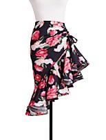 abordables -Danse latine Bas Fille Utilisation Coton cristal Fibre de Lait Motif / Impression Ruché Taille moyenne Jupes