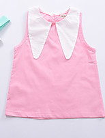 cheap -Girl's Daily Color Block Dress, Cotton Summer Sleeveless Street chic Blushing Pink