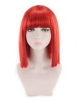 Недорогие -Парики из искусственных волос Прямой Стрижка боб Искусственные волосы синтетический / Новое поступление Красный / Розовый Парик Жен. / Да