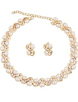 cheap -Women's Imitation Pearl Gold Plated Jewelry Set 1 Necklace Earrings - Simple Fashion European Gold Jewelry Set Bridal Jewelry Sets For