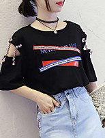 cheap -Women's Basic T-shirt - Color Block Letter