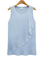 Недорогие -Жен. Оборки Блуза Классический Однотонный