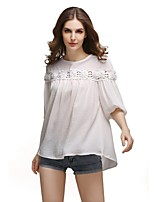 cheap -Women's Basic Lantern Sleeve Blouse - Solid Colored, Cut Out
