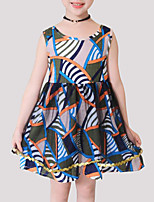cheap -Girls' Print Patchwork Sleeveless Dress