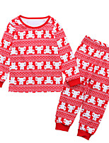 cheap -Unisex Party Holiday Solid Colored Print Clothing Set, Cotton Acrylic Spring Summer Long Sleeves Cute Active Red